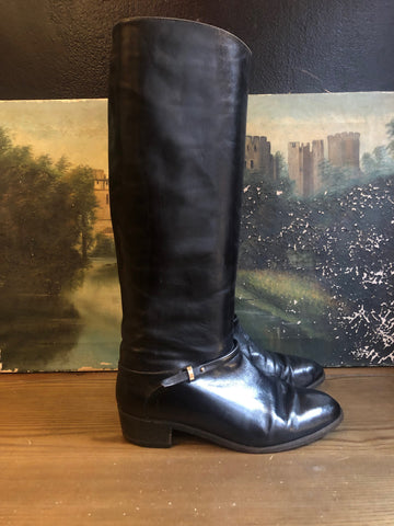 1970s Italian Black Leather Riding Boots Sz 8