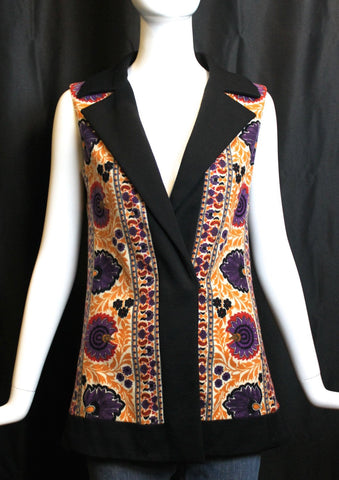 1960s vintage MALCOLM STARR colorful wool brocade hippie afghan ETHNIC carpet print Beatles Rishikesh style long vest size medium