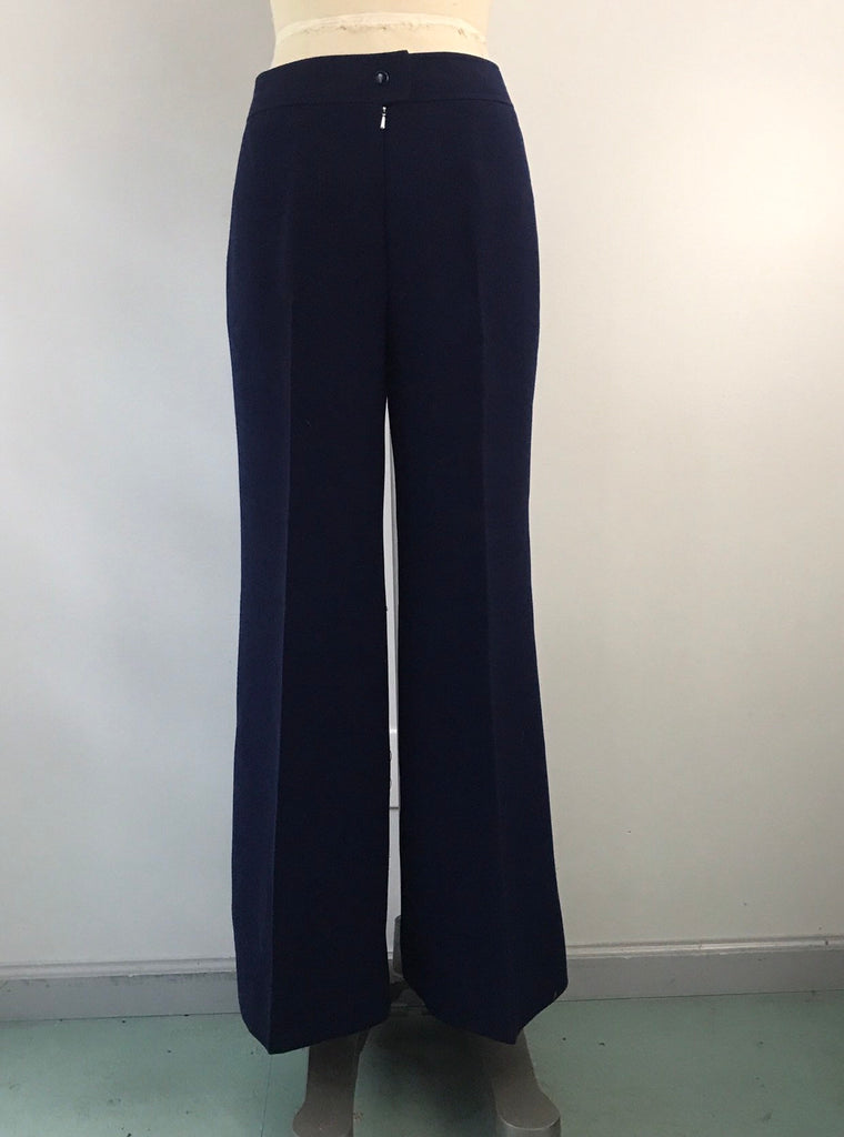 70s COUREGGES COUTURE numbered navy heavy wool crepe extremely tailored high waist bell bottoms flares 1970s vintage size B