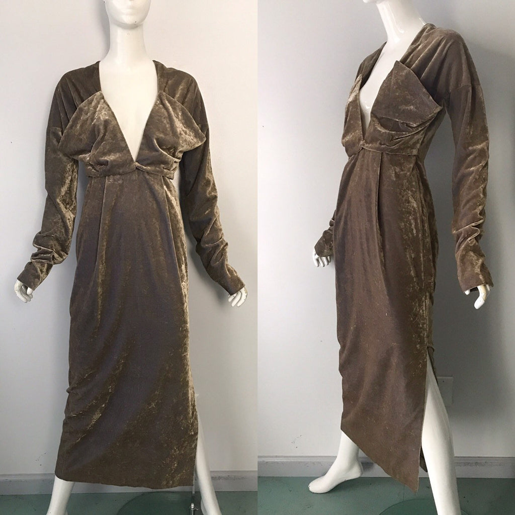 1994 CALLAGHAN Italy crushed velvet futuristic avant garde GOWN dress vintage 1990s 8