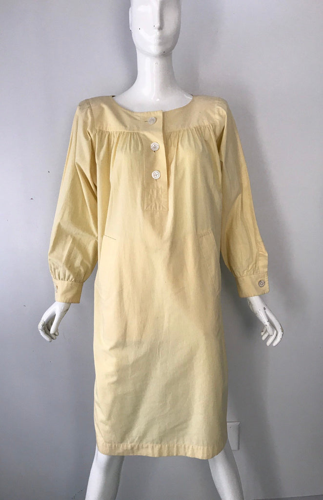 80s YSL Yves Saint Laurent pale yellow cotton tunic smock DRESS vintage 1980s 42 10