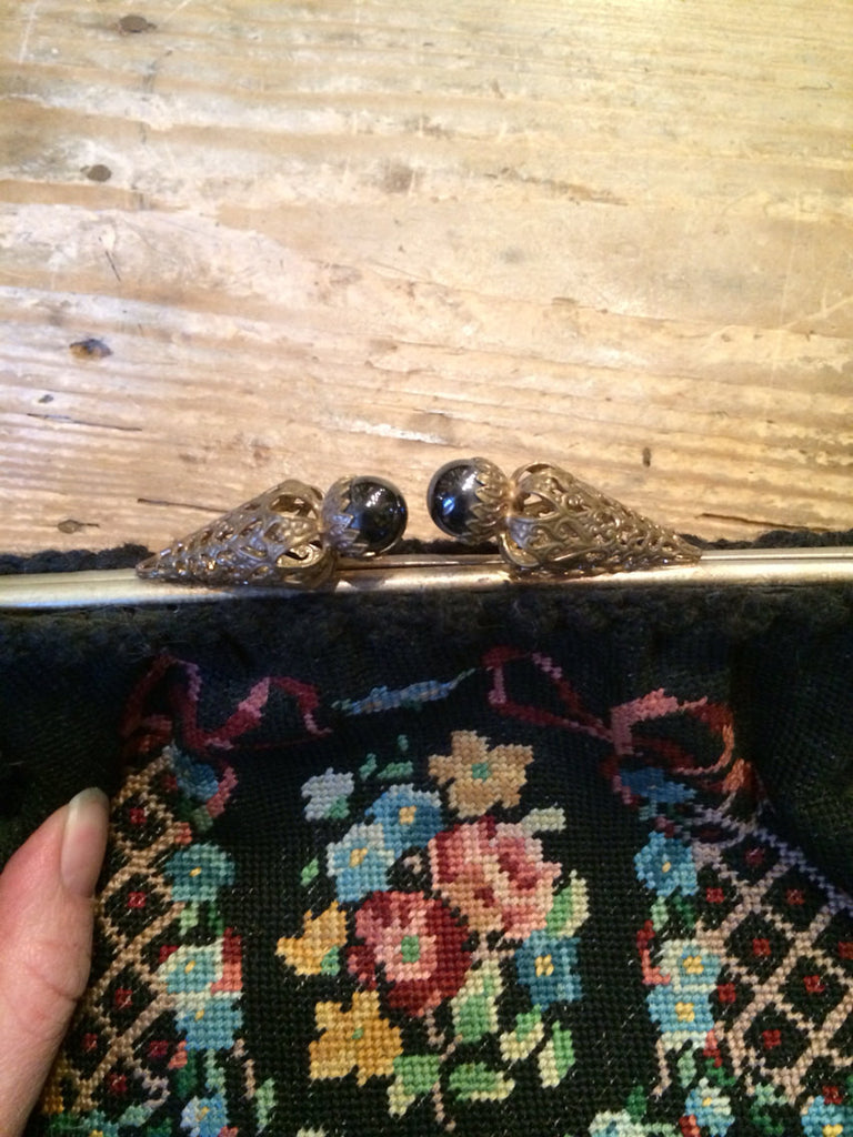 Vintage 1920s FRENCH needlepoint black floral ribbon fancy clasp ...