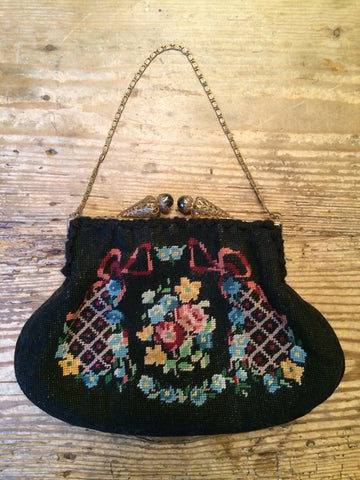 Vintage 1920s FRENCH needlepoint black floral ribbon fancy clasp PURSE BAG evening