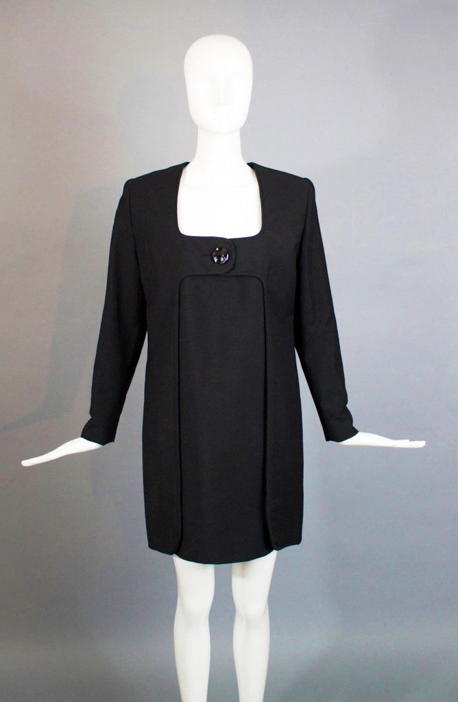60s JAMES GALANOS minimalist black big button MOD sheather dress rare vintage 1960s