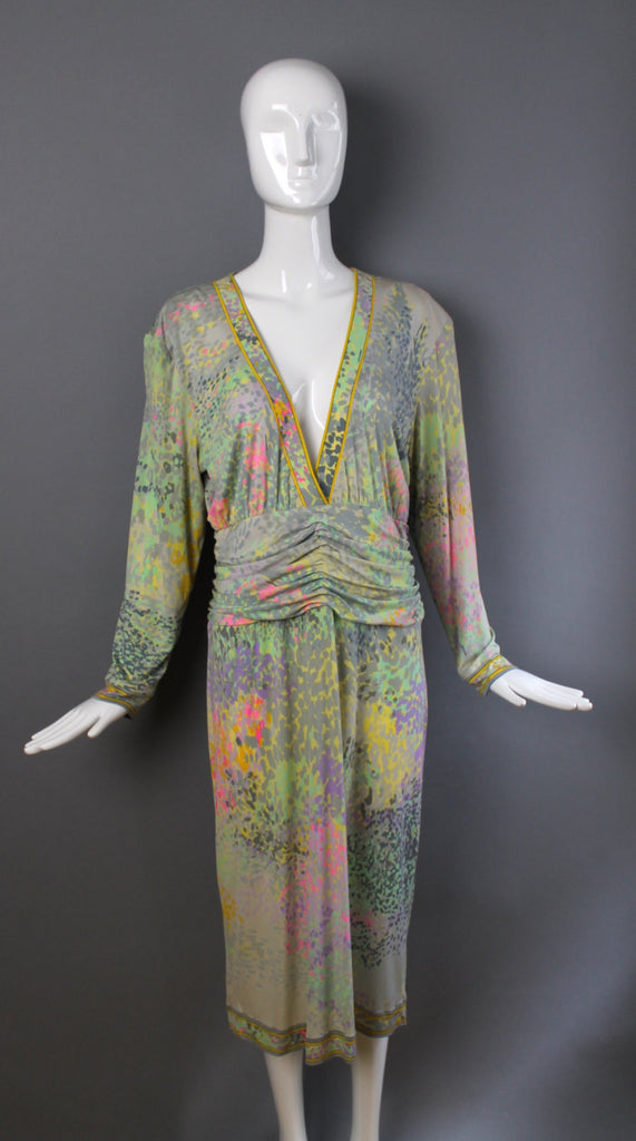 70s LEONARD PARIS silk jersey signed abstract floral Pucci print draped DRESS L 1970s