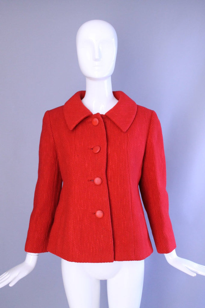 1950s 1960s lipstick red BEN ZUCKERMAN woven wool tailored cropped jacket BLAZER back sash vintage