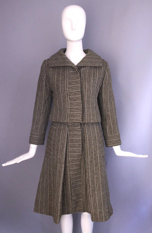 1950s 1960s pinstripe DONALD BROOKS brown white pinstripe A line skirt Suit vintage