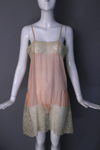 20s baby pink LINGERIE STEP IN silk teddy with delicate and lovely lace hem 1930s vintage 1920s