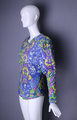 1990s FIORUCCI Italy Dee Lite Pucci print psychedelic club kid sweater & tights outfit leggings vintage rare 1980s L