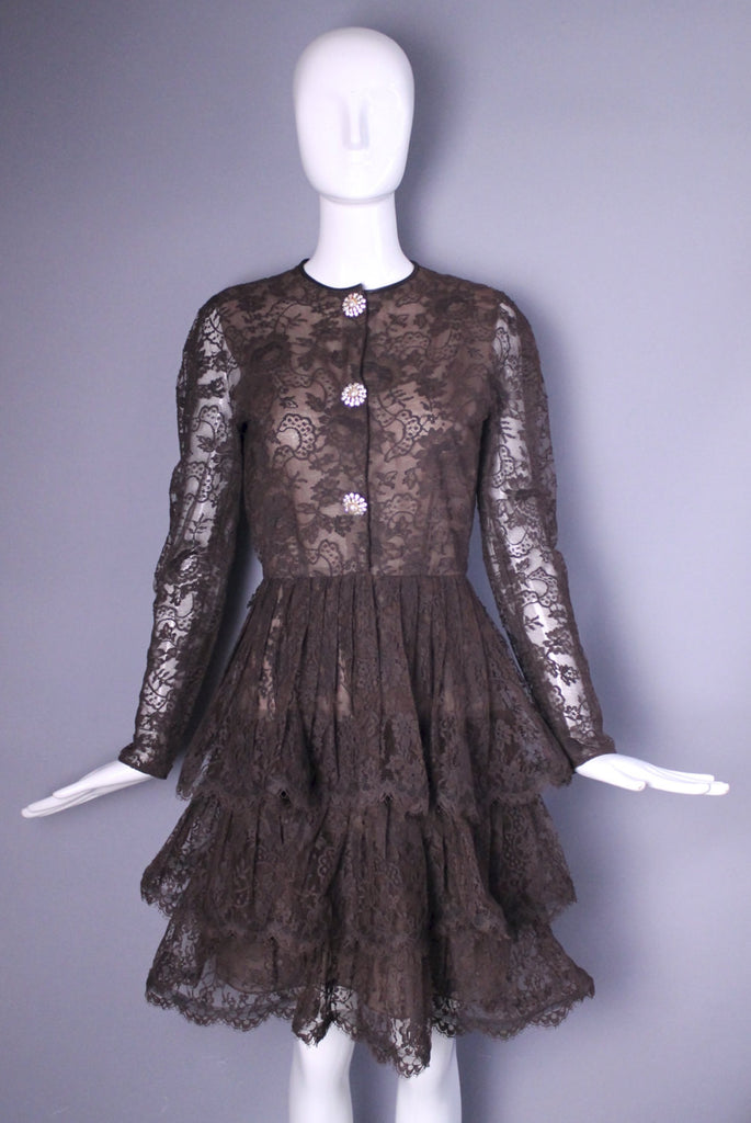 80s SCAASI Boutique chocolate lace organza tiered elegant evening cocktail DRESS vintage 1970s 1980s 6