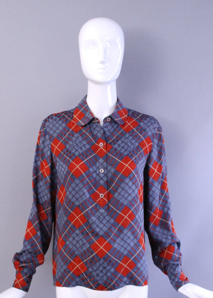 1980s GEOFFREY BEENE plaid Silk Printed Blouse tunic top vintage 80s 70s