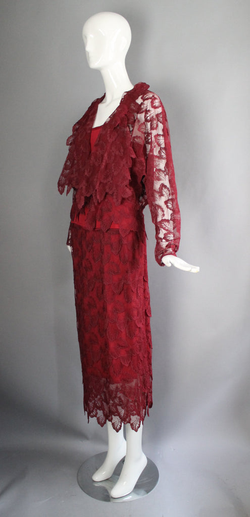 70s GIORGIO SANT'ANGELO ruby red draped lace 3 pc Studio 54 disco era outfit skirt tank shell blouse vintage 1970s