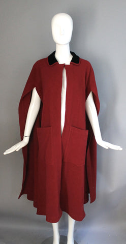 40s BONNIE CASHIN  1949 cherry red tie back draped CAPE wool fleece post wwii 1940s vintage