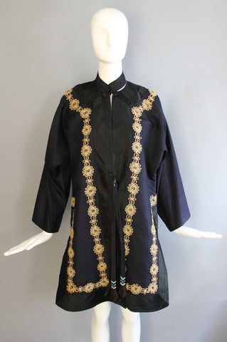 20s CHINESE silk formal printed and embroidered ceremonial ROBE kimono jacket navy silk 1920s 30s vintage