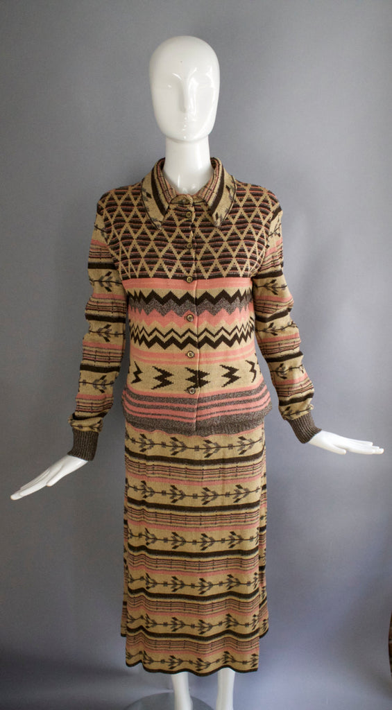 70s GIORGIO SANT ANGELO knits outstanding and inspired abstract knit suit outfit jacket & skirt sweater cardigan 1970s vintage
