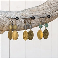 Hammered Disk Brass Drop Earring
