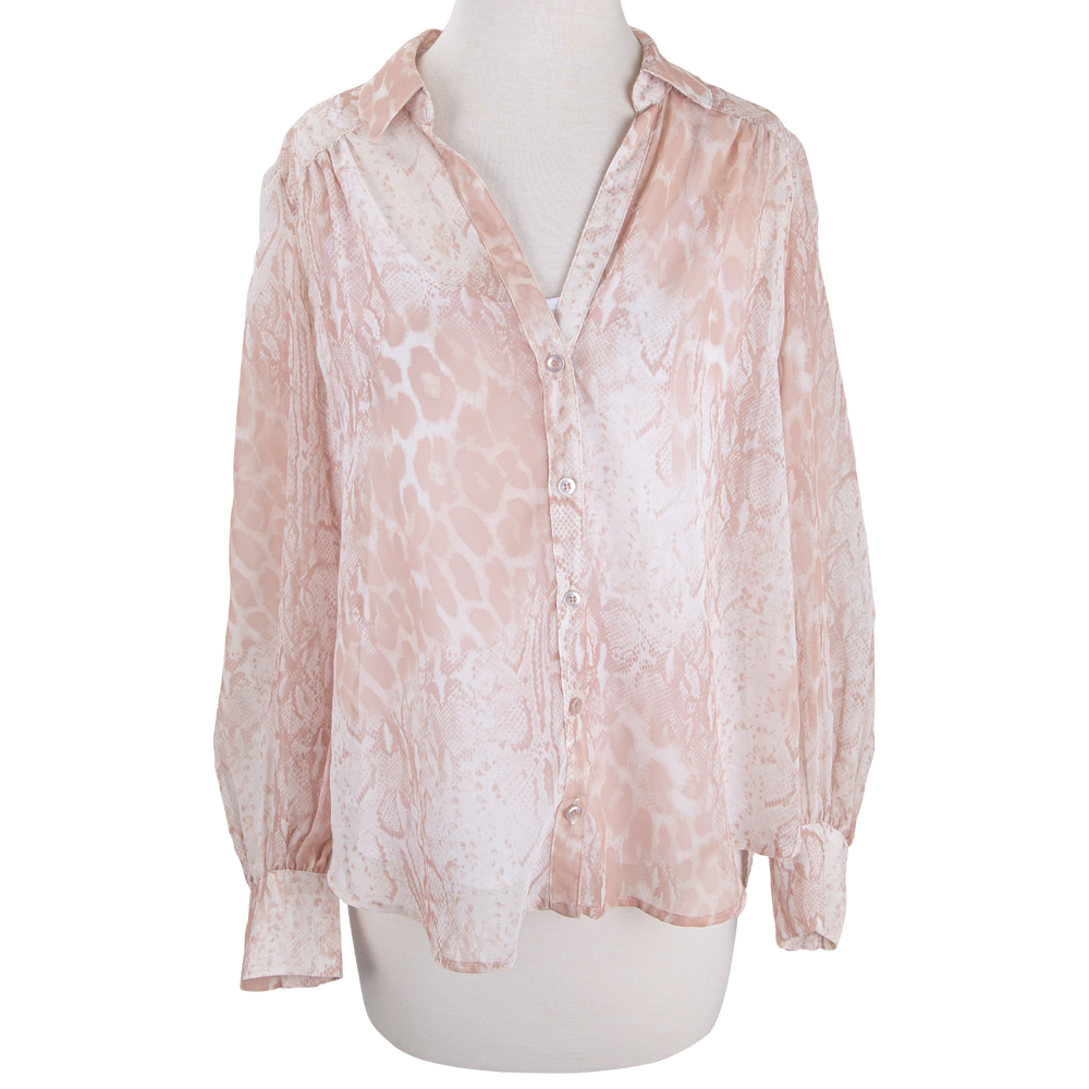 Pink Print Button Down Flounce Sleeve Top