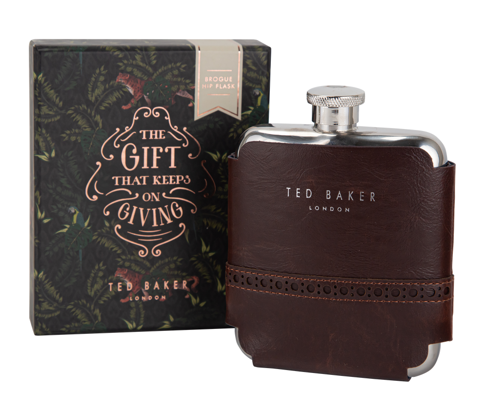 Load image into Gallery viewer, Ted Baker 6 oz  Brogue Hip Flask