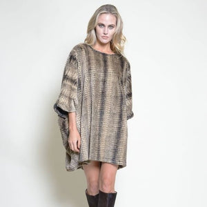 Load image into Gallery viewer, Yana K Poncho Mini Dress Crew Neck