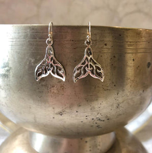Silver Whale Tails Earrings (Style 1)