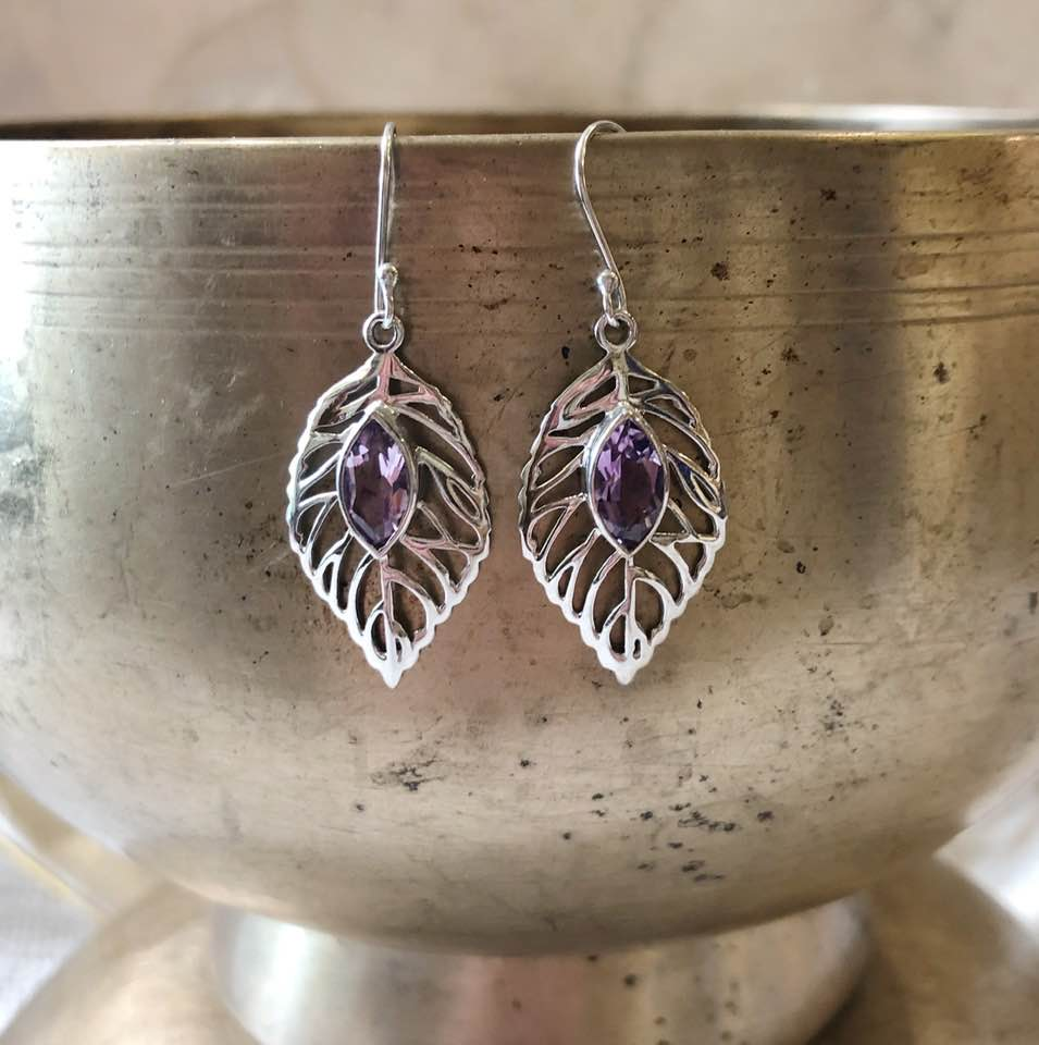 Silver Leaves with Amethysts