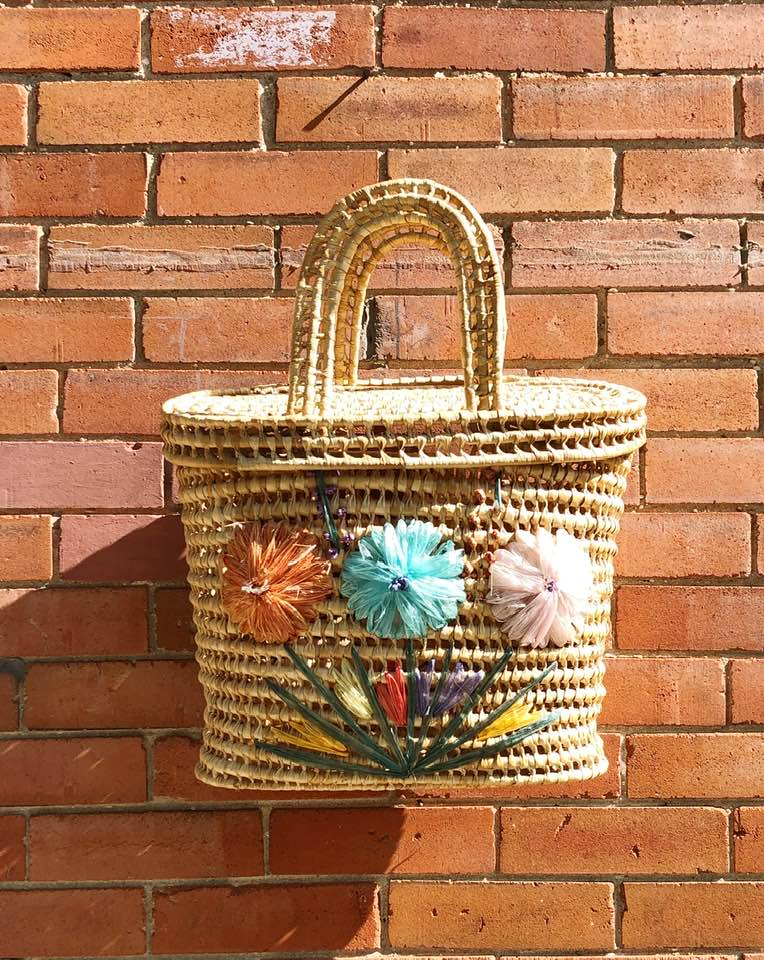 Vintage Boho Straw Bag with Flowers