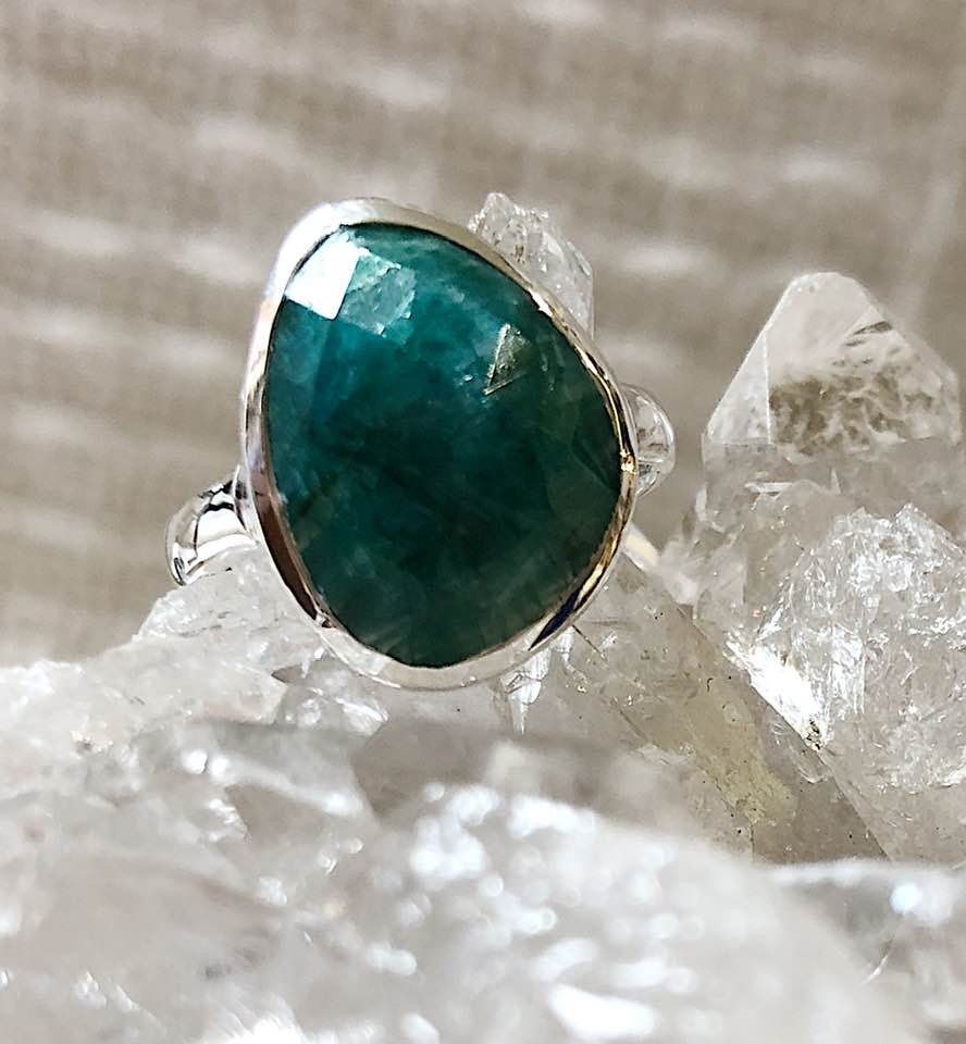 Silver & Faceted Emerald Ring