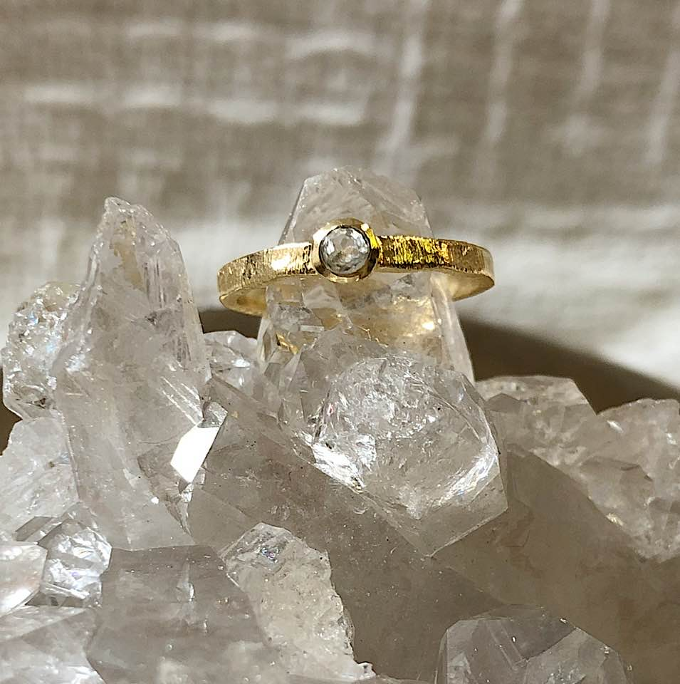 14K Hammered Gold-Filled Ring with Raised Cubic Zirconia