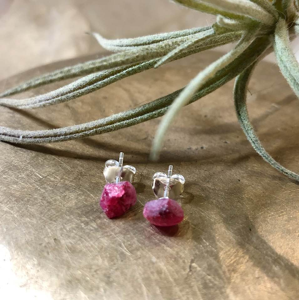 Silver and Raw Pink Tourmaline Studs