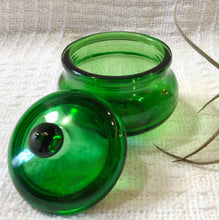 Load image into Gallery viewer, Vintage Green Glass Trinket Jar