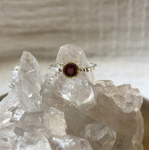 Hammered Silver & Pink Tourmaline Ring with Gold Bail