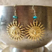 Load image into Gallery viewer, Upcycled Suns with Turquoise Earrings