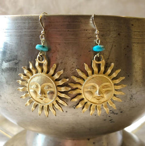 Upcycled Suns with Turquoise Earrings