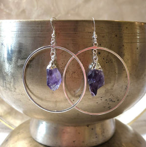 Extra Large Hoops with Raw Amethyst Drops