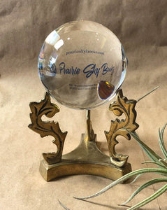 Vintage Brass Crystal Ball Stand with New Glass Sphere
