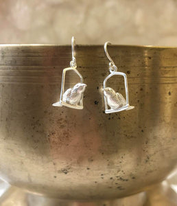 Silver Birds on a Perch Earrings