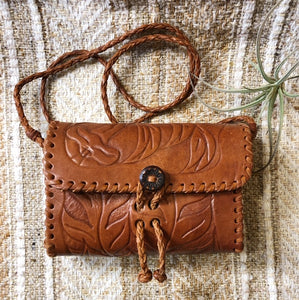 Vintage Tooled Leather Crossbody Purse