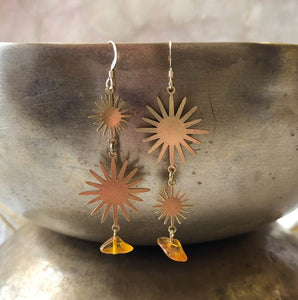 Brass Sunburst Earrings with Amber Drops