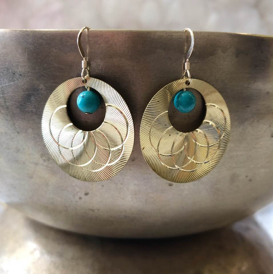 Brass Disc Earrings with Turquoise Drops