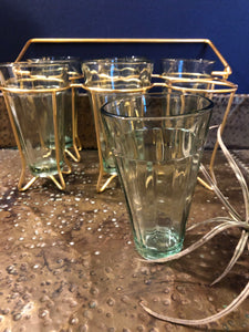 Vintage Glass Caddy with Six Glasses (Local Pick Up Only)