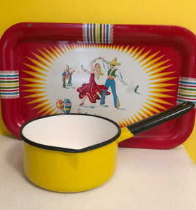 Vintage Yellow Enamel Small Pot