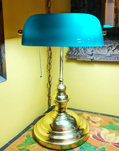 Classic Library Lamp with Teal Green Shade (Local Pick Up Only)