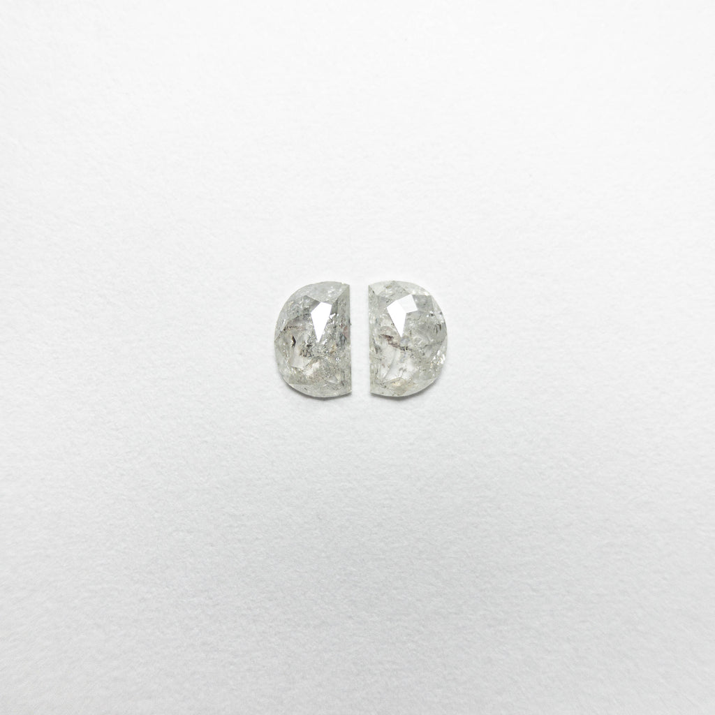 0.44cttw Half Moon Rose Cut Diamond Matching Pair