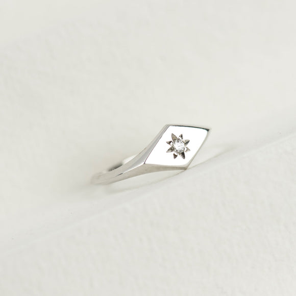 Diamond Kite Signet Ring