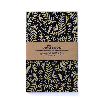 Cuaderno  -  Nature Pattern - Gold on Black