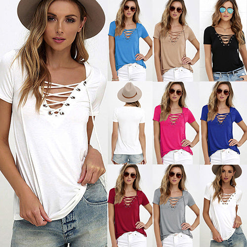 Women Summer casual Fashion T-Shirt - SultanBox