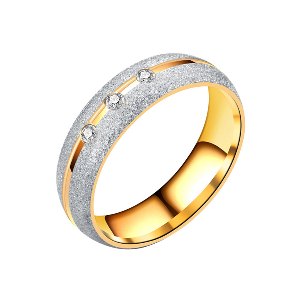 Fashion Frosted Rhinestone Couple Finger Ring Stainless Steel Wedding Jewelry