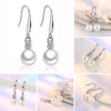 Chic Women Zircon Inlaid Faux Pearl Hook Earrings Eardrop Party Bridal Jewelry