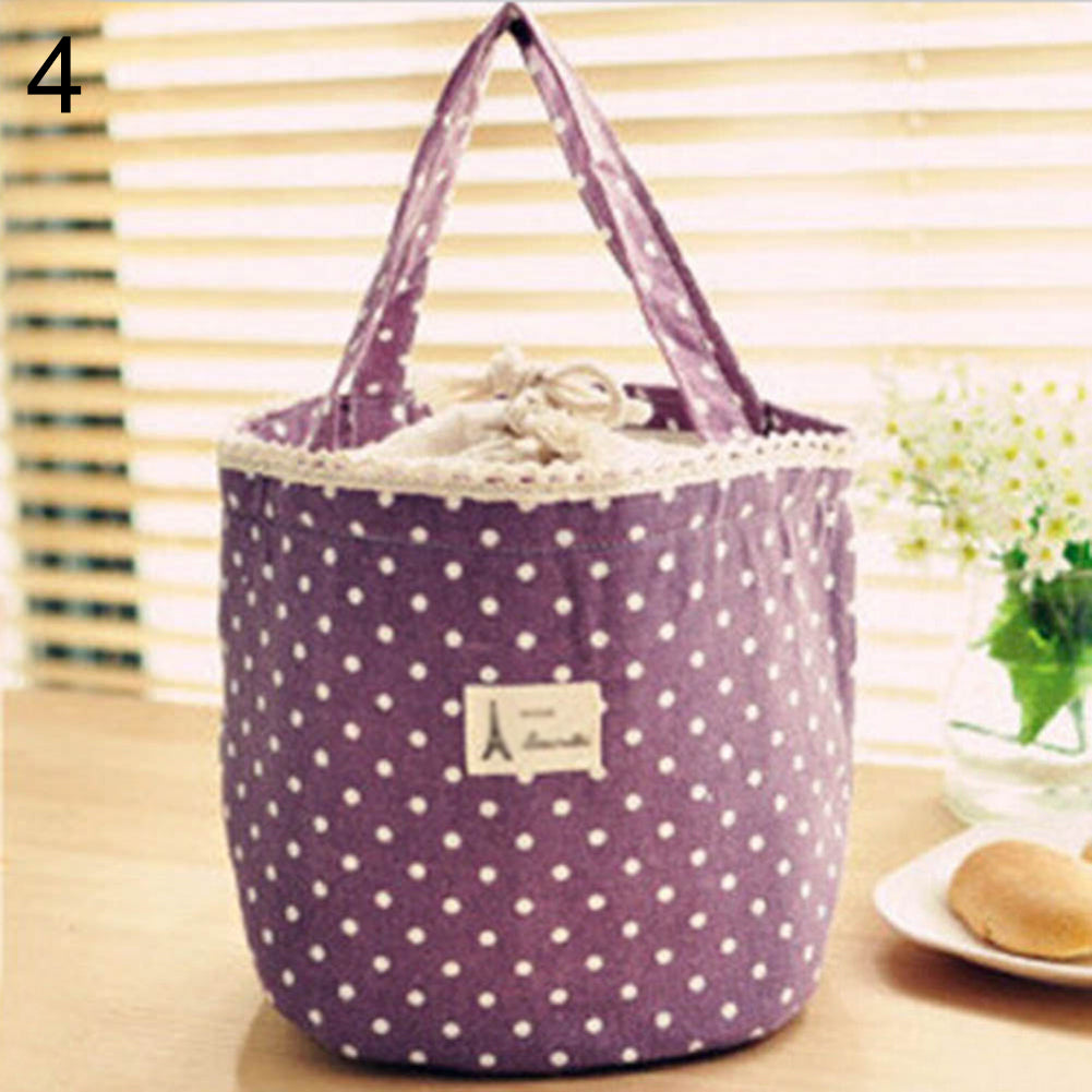 Portable Linen Cotton Polka Dot Drawstring Insulated Food Lunch Box Bag Gift