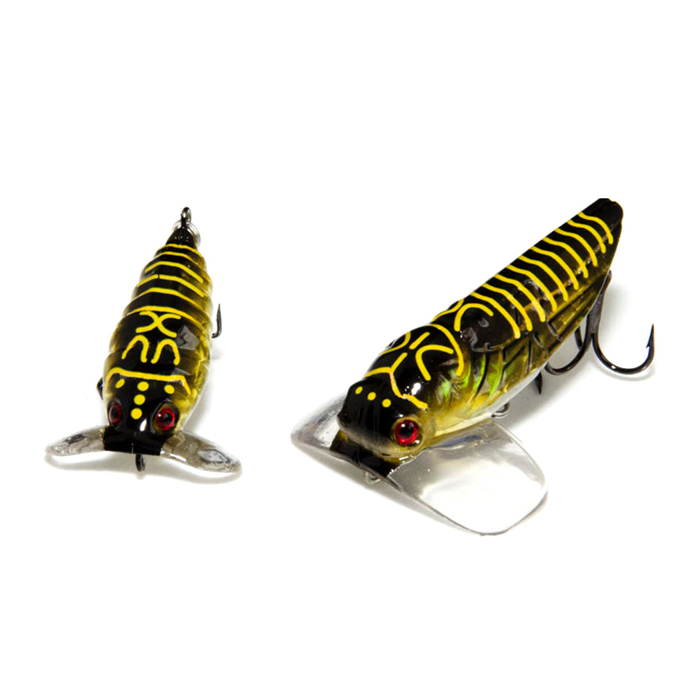 Artificial Plastic Cicada Fishing Topwater Lure Floating Insect Bait with Hook